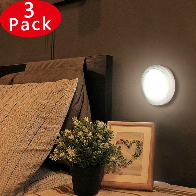 LUCKLED 3 PACK Wireless LED Night Lights,Battery Powered Mini Touch Lights Stick-on Push Lights for Hallway, Closet, Stairs, Bedroom, Baby Nursery (Cool White)