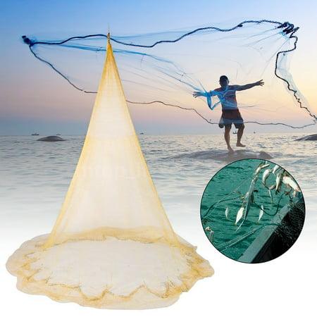 8x12FT 2.5 x 3.5m Big Fishing Nylon Monofilament Fish Gill Net Easy Throw For Hand Cast 8x12FT (Monofilament Net)