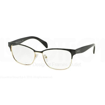PRADA Eyeglasses PR 65RV QE31O1 Black On Pale Gold 53MM ()