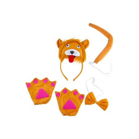 Lux Accessories Orange Lion Head Red Tongue Out Bowtie Tail Claw Costume Dressup - Lion Tail Costume Accessory