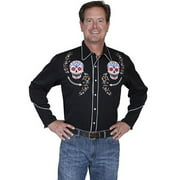 Scully Western Shirt Mens Long Sleeve Snap Day of the Dead Skull P-860