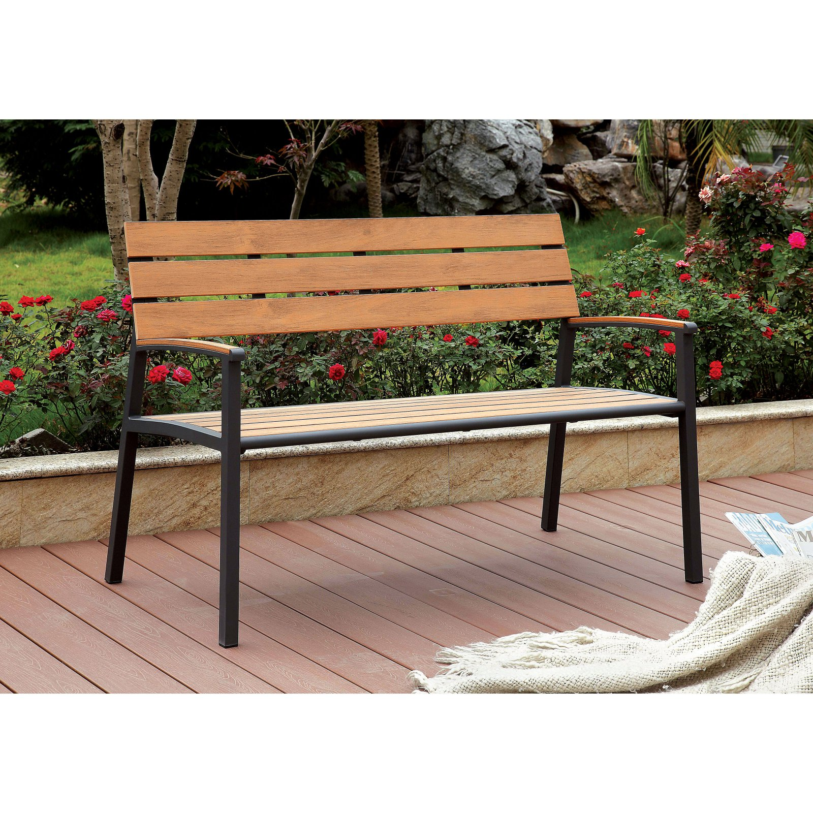 Furniture of America Lasigna 47 in. Contemporary Style Plank Panel Outdoor Bench