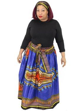 African Star Women's Dashiki Skirt Ankara Wax with Headwrap