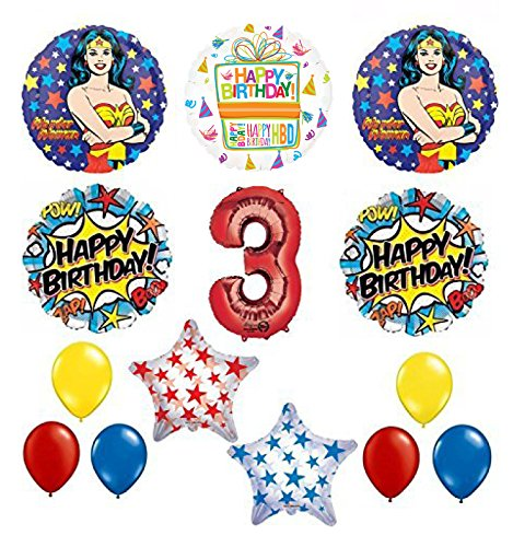 Wonder Woman 14 pc Superhero 3rd Birthday Party Supplies and Balloon Decorations