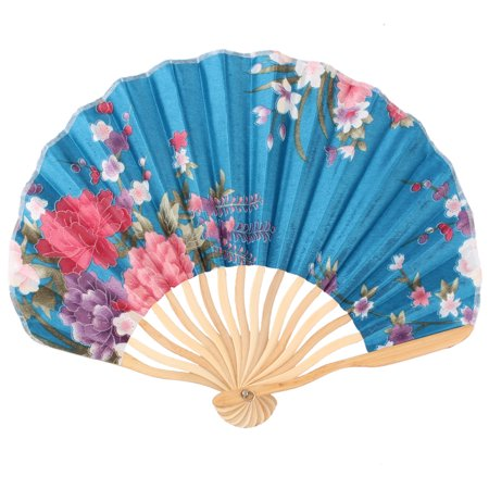Womens Pennies - Women Bamboo Frame Peony Printed Chinese Style Summer Hand Folding Cooling Fan