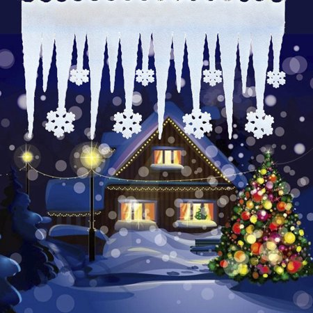 Moderna 2Pcs Christmas Foam Ice Strip Snowflake Column Icicle Snow Scene Window Decor](Snowflake Scenes)