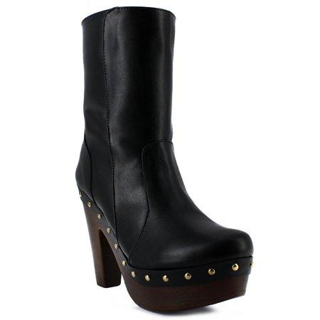 Abigail Adult Black Dome Golden Stud Adorned Platform Heeled Boots