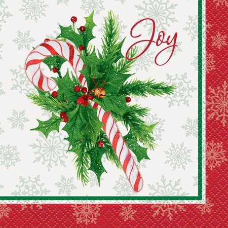 Candy Cane Christmas Beverage Napkins, 16-Count by