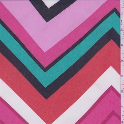 Pink/Orange/Teal Chevron Chiffon, Fabric By the Yard