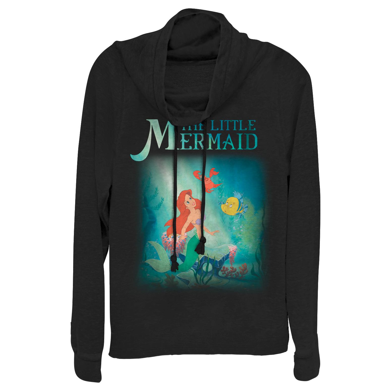 the little mermaid juniors' ariel and friends cowl neck sweatshirt