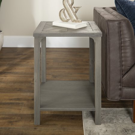 Manor Park Transitional Wood Chevron End Table - Grey (Chevron Table)