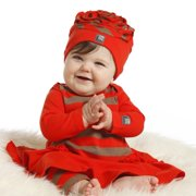 KidCuteTure Baby Girls Geranium Red Beth Dress Leggings Outfit Set 6M