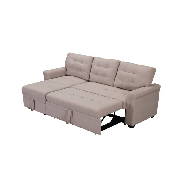 Tufted Beige Soft Upholstery Sofa Bed, Beige Sofa Bed With Storage