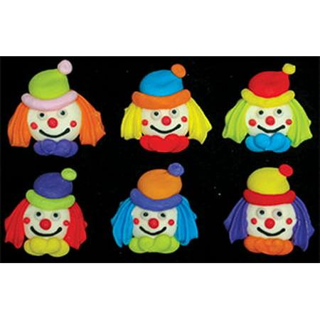 Circus Clown Faces Assortment Royal Icing Cake/Cupcake Decorations 12 Ct