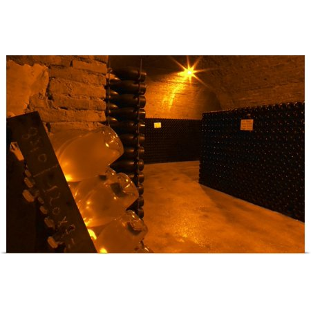 Great BIG Canvas | Rolled Per Karlsson Poster Print entitled Wine cellar that was an old chalk quarry, Marne, Ardennes, France