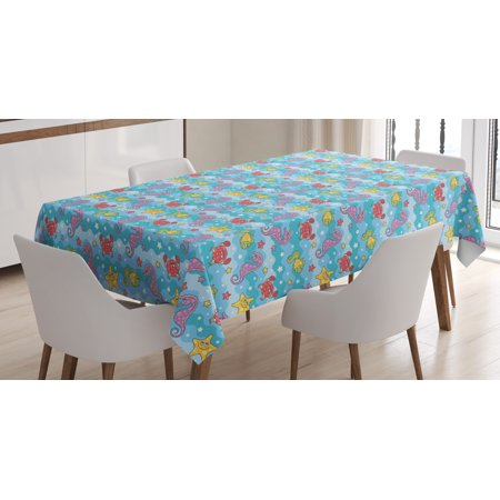 Baby Tablecloth, Marine Inspired Cartoon Sea Creatures Starfish Seahorse with Wavy Ocean and Stars, Rectangular Table Cover for Dining Room Kitchen, 60 X 84 Inches, Multicolor, by Ambesonne](Seahorse With Babies)