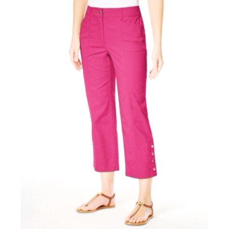 JM Collection Petite Cropped Snap-Button Radiant Pink Pants Size 12P