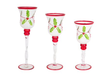 Set of 3 decorative glass holly candle holders christmas for 7 candle christmas decoration