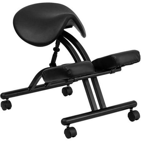 Flash Furniture Ergonomic Kneeling Chair with Saddle Seat, Black ...