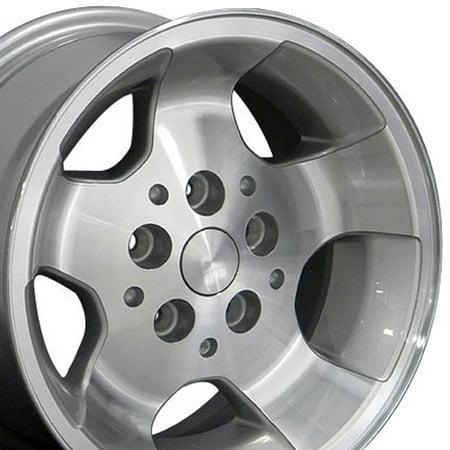 15x8 Wheel Fits Jeep Wrangler - Wrangler Style Silver Mach'd Face Rim, Hollander (Best Rims For Jeep Wrangler)