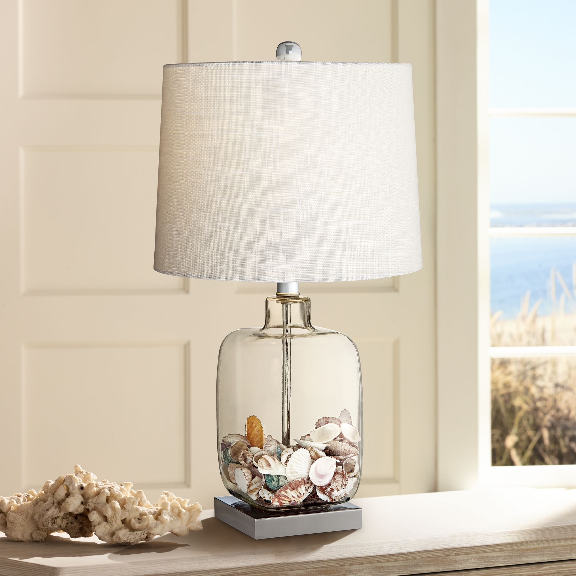 360 Lighting Coastal Accent Table Lamp Clear Glass Fillable Sea Shells  White Drum Shade For Living Room Family Bedroom Bedside   Walmart.com