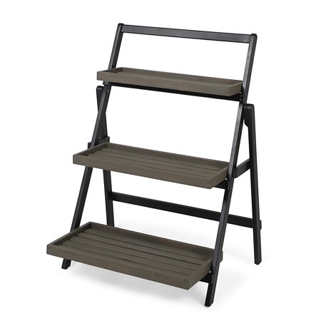 Mesbin Outdoor Acacia Wood Planter Stand, Black and (Wood Planter Stands)