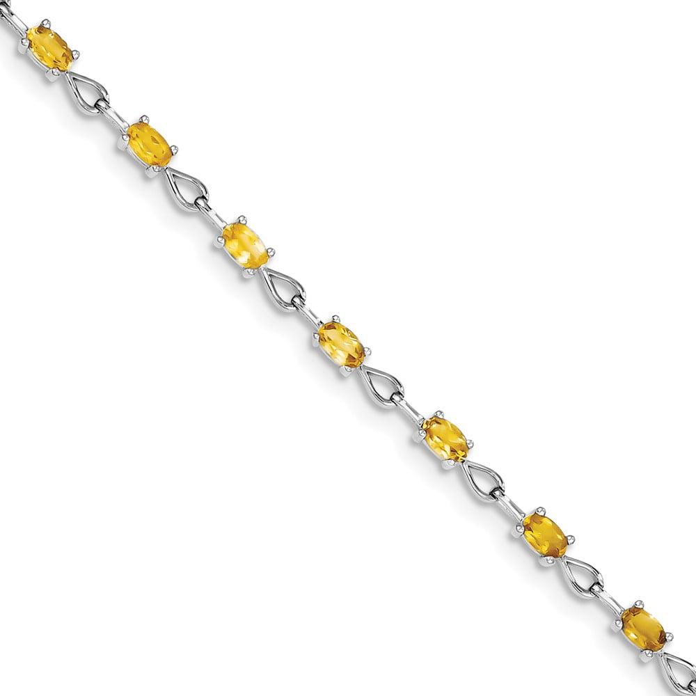 Sterling Silver Citrine Bracelet. Gem Wt- 3.02ct