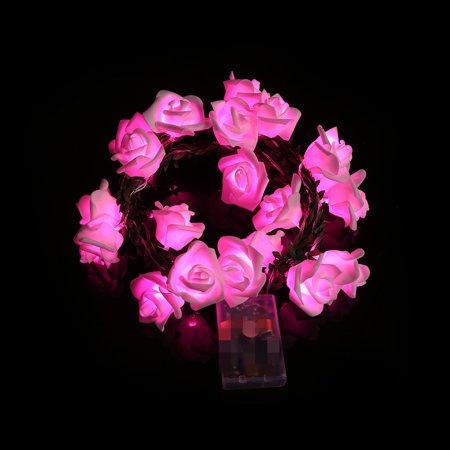 20 LED Cell Box Garden Party Rattan Pink Rose Lantern Skewers
