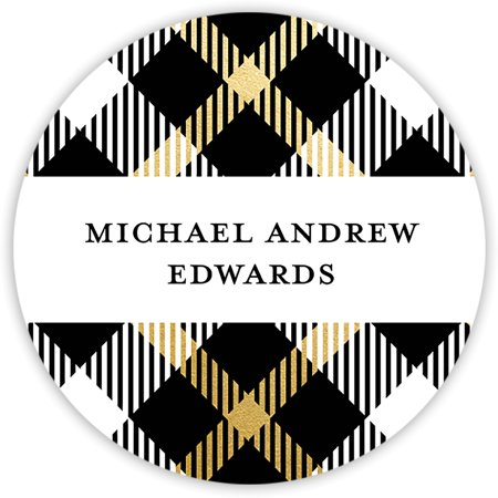 Personalized Stickers Cheap (Plaid - Personalized 1.75 Circle Seal)