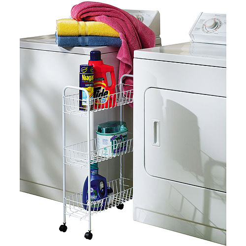 Household Essentials 3-Tier Slimline Rolling Rack, White