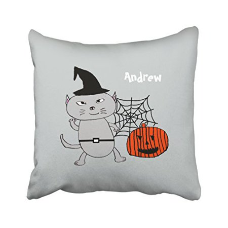 WinHome Cute Cartoon Happy Halloween Funny Cool Cat Personalized Watercolor Polyester 18 x 18 Inch Square Throw Pillow Covers With Hidden Zipper Home Sofa Cushion Decorative Pillowcases](Halloween Cartoon Artwork)