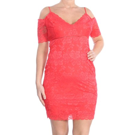 Lace Overlay Strap (GUESS Womens Red Cold Shoulder Lace Overlay Spaghetti Strap V Neck Above The Knee Empire Waist Party Dress  Size: L)