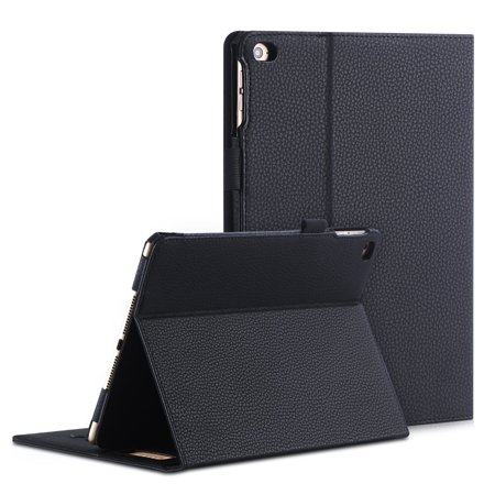 new style 75571 2b25d FYY iPad Air 2 Case - Premium PU Leather Case Smart Auto Wake/Sleep Cover  with Hand Strap, Card Slots, Pocket for iPad Air 2 Black