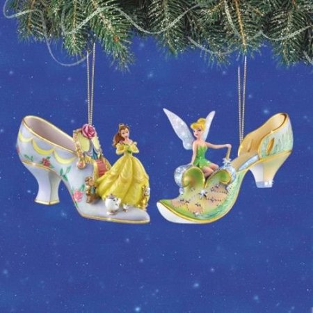 Disney S Once Upon A Slipper Belle And Tinker Bell Figurine Shoe Ornaments Set Of 2 By Christmas Tree Ornaments