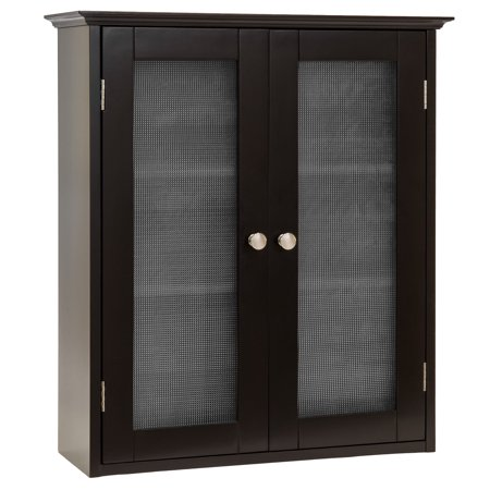 Best Choice Products Bathroom Wall Wood Medicine Cabinet Organization Storage Space Saver w/ 3 Shelves, Tempered Glass Double Doors, Double Plated Knobs - Espresso Brown ()