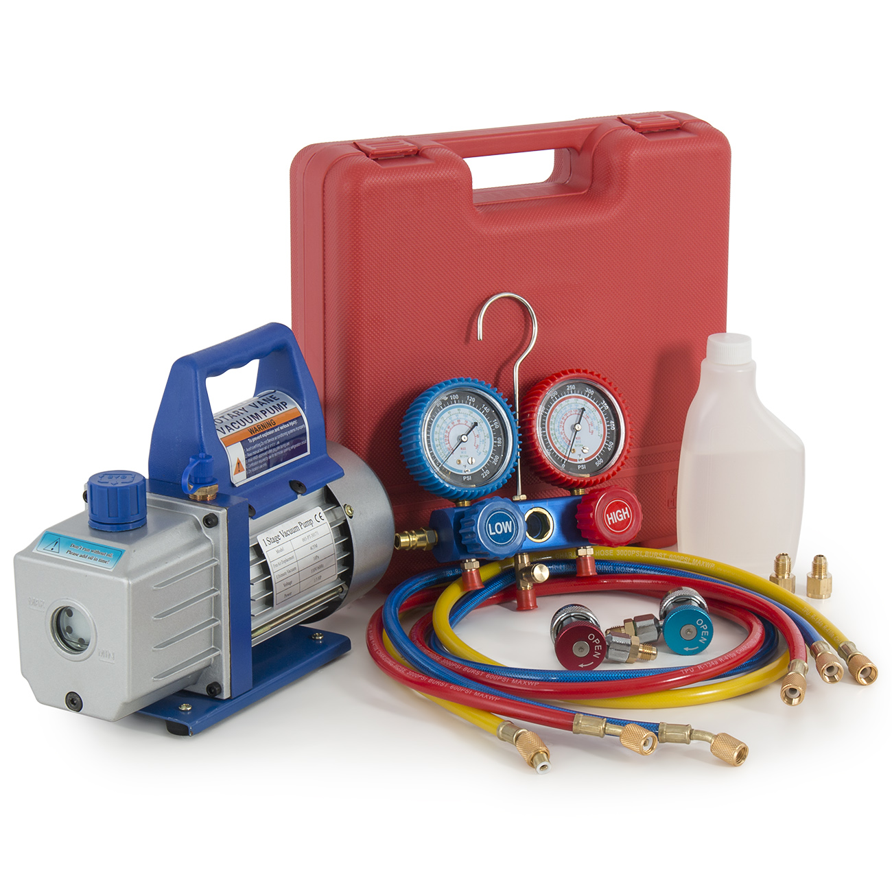 Arksen HVAC R134A A/C Diagnostic Manifold and 4CFM Vacuum Pump Kit