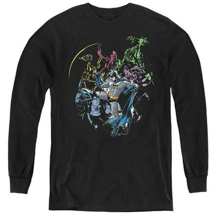 Batman & Surrounded-Youth Long Sleeve Tee, Black - Medium - image 1 de 1