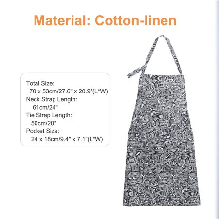 Adjustable Bib Apron Printed Oil Resistant Cotton linen with 2 Pockets for Women Men, Navy Blue Waves thumbnail