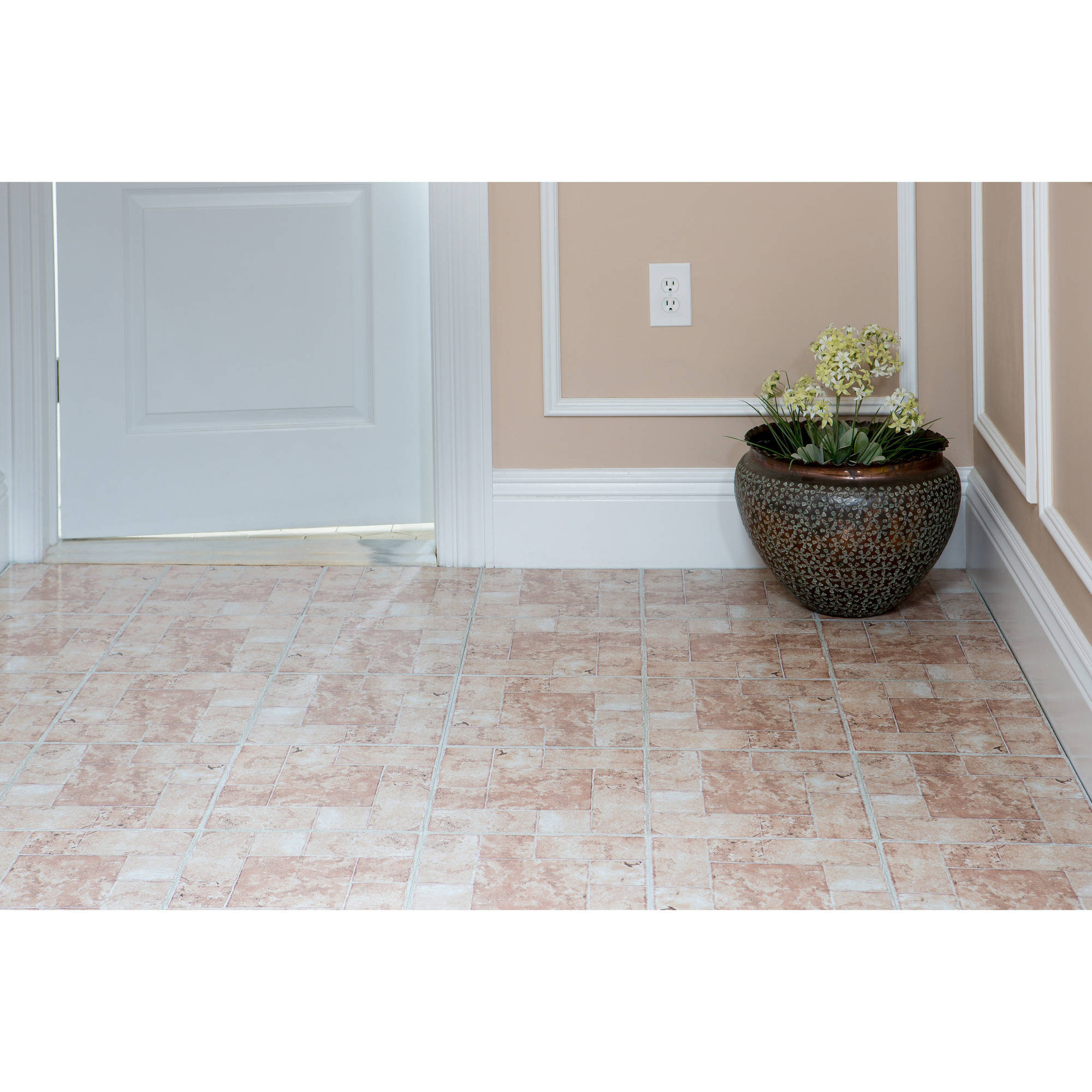 Achim Nexus Beige Terracotta 12x12 Self Adhesive Vinyl Floor Tile 20 Tiles 20 Sq Ft