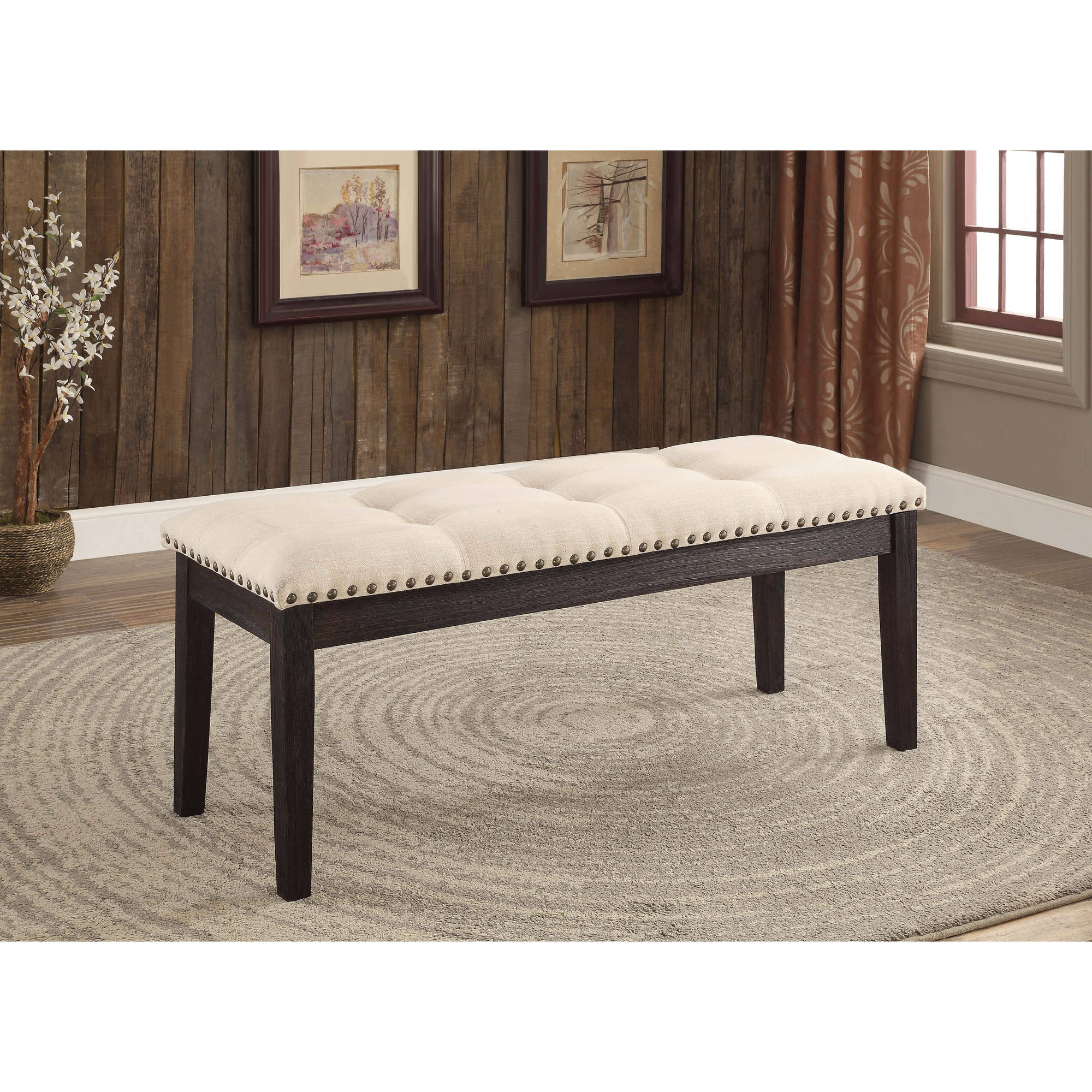 Furniture of America Roisin Contemporary Dining Bench, Ivory