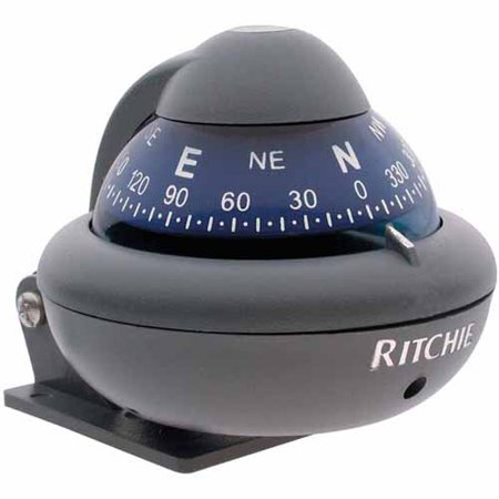 Ritchie X 10 M Ritchiesport Bracket Mount Compass  Grey With Blue Dial