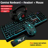 [4 Pieces/Set] Wired Blue LED Backlit Multimedia Ergonomic USB Gaming Keyboard Mouse Over-Ear Headset Combo Illuminated 1600DPI Optical Gamer Mouse Sets-Black