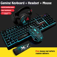 [4 Pieces/Set] Wired LED Backlit Multimedia Ergonomic USB Gaming Keyboard Mouse Combo Illuminated 1600DPI Optical Gamer Mouse Sets + Gaming Headset + Mouse Pad