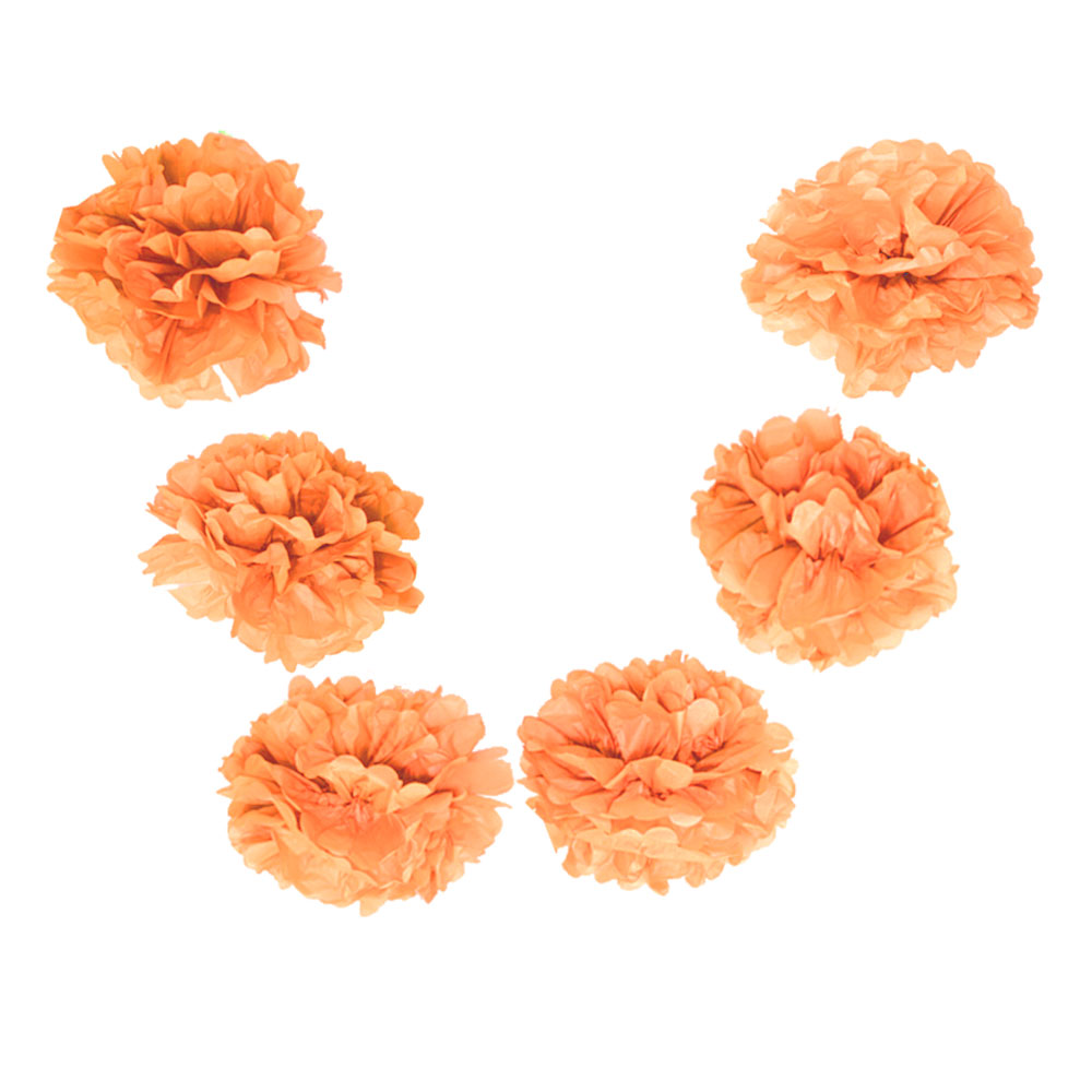 "Quasimoon EZ-FLUFF 6"" Peach / Orange Coral Hanging Tissue Paper Flower Pom Pom, Party Garland Decoration by PaperLanternStore"