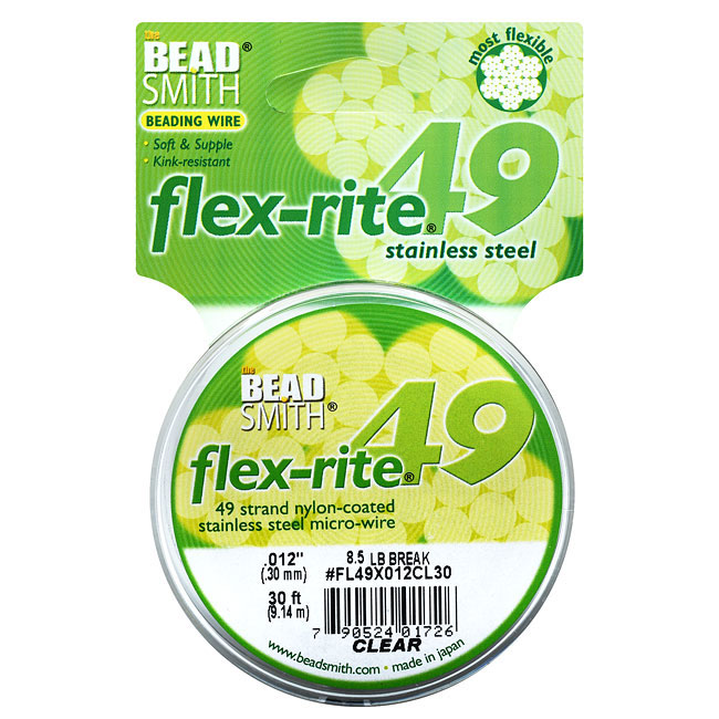 """BeadSmith Flex-Rite Beading Wire, 49 Strand .012"""" Thick, 30 Foot Spool, Clear"""