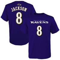 Lamar Jackson Baltimore Ravens Youth Mainliner Player Name & Number T-Shirt - Purple