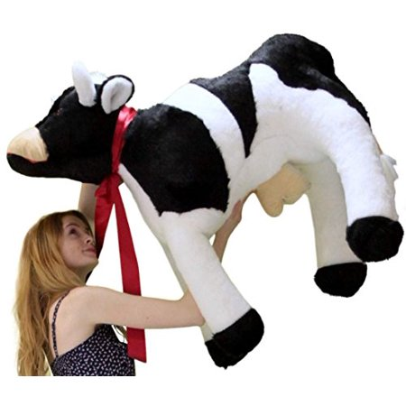 A Stuffed Animal (American Made Giant Stuffed Cow 3 and a Half Feet Long Big Plush Farm)