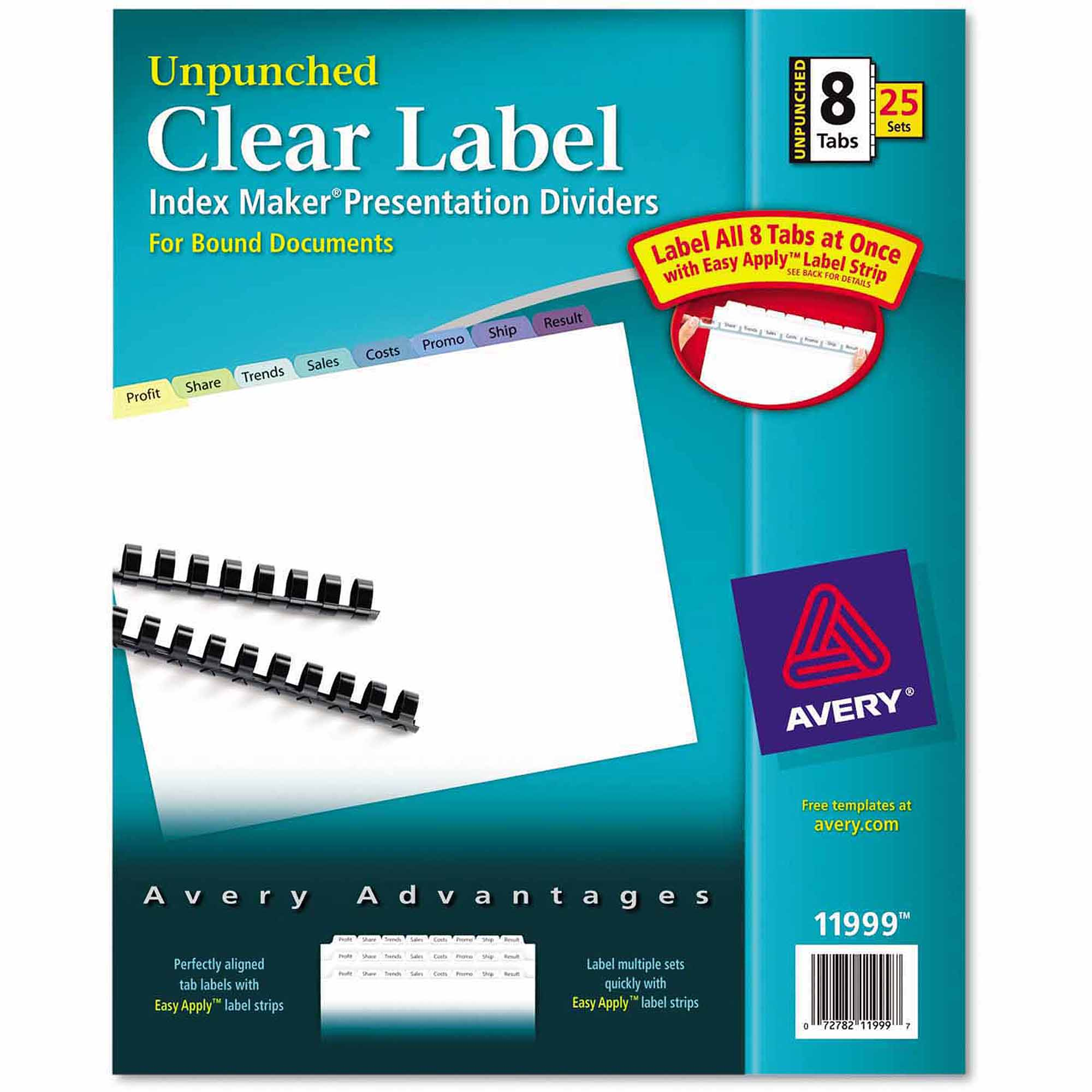 Avery Index Maker Clear Label Contemporary Color Dividers, 8-Tab, 25-Pack