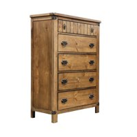 Moira Rustic Wooden 5-Drawer Chest with Metal Glides, Weathered Elm