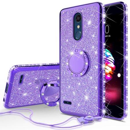 LG K30, LG Phoenix Plus, K10 Plus, K10 2018, K10 Alpha, X4 Plus, Premier Pro, X4+, Slim Glitter Bling Crystal Rhinestone TPU Case Cover Finger Style Ring Kickstand - Purple
